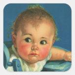 Enfant vintage, bébé mignon ou fille dans le sticker carré