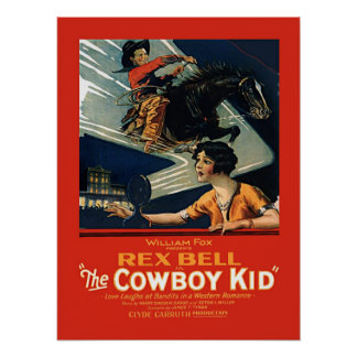 Enfant vintage de cowboy de Rex Bell de publicité Posters