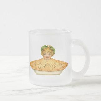 Enfant vintage et tarte mug en verre givré
