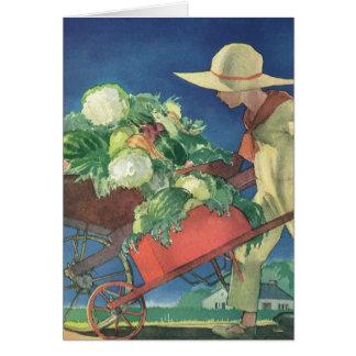 Enfant vintage, jardinage organique ; Jardin de Carte De Vœux