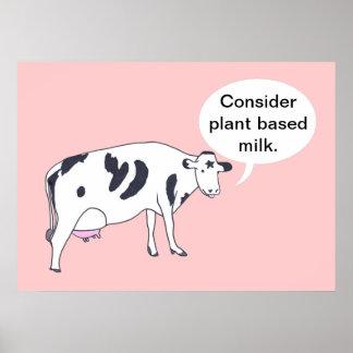 Enfantez la vache, considérez le lait basé par pla poster