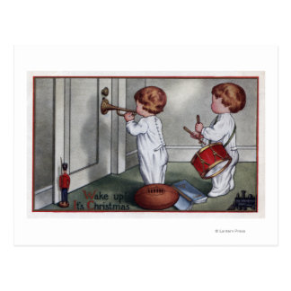 Enfants avec le tambour et la trompette carte postale