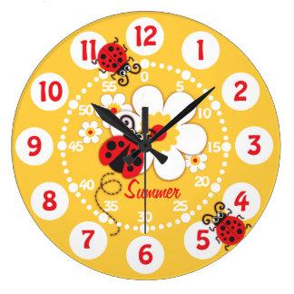 Enfants coccinelle et horloge murale jaune