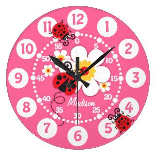 Enfants coccinelle et horloge murale rose mignonne