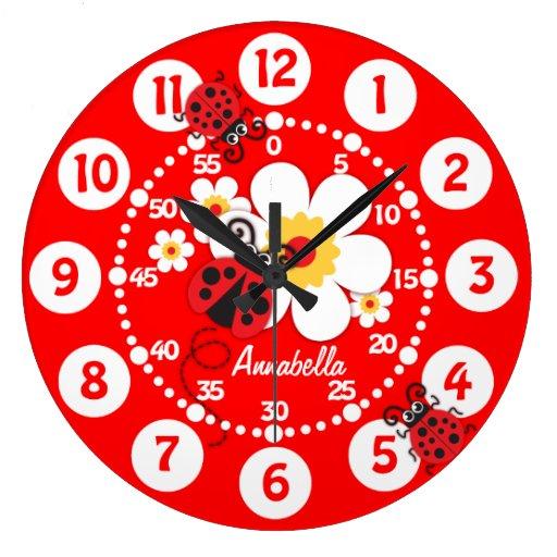 enfants coccinelle et horloge murale rouge lumineu zazzle. Black Bedroom Furniture Sets. Home Design Ideas