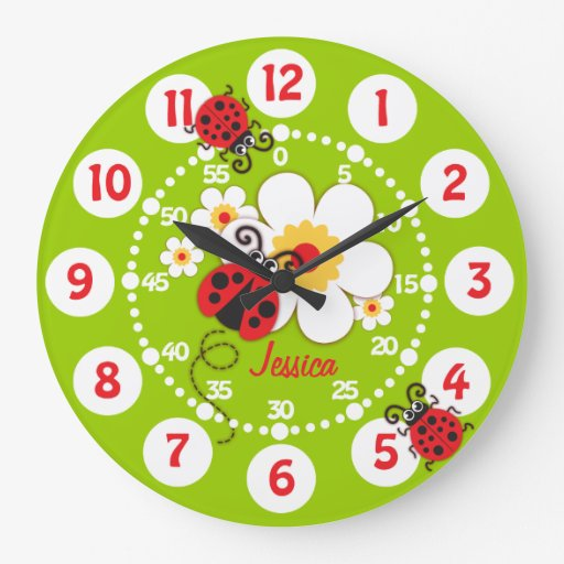 enfants coccinelle et horloge murale verte zazzle. Black Bedroom Furniture Sets. Home Design Ideas
