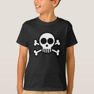 Enfants crâne et noir de T-shirt de pirate d'os