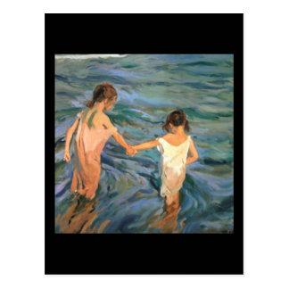 Enfants de Joaquín Sorolla y Bastida en mer Carte Postale