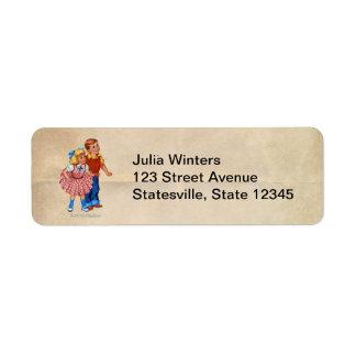 Enfants de terre de sucrerie étiquette d'adresse retour