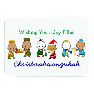 Enfants de vacances de Christmakwanzukah Carton D'invitation 8,89 Cm X 12,70 Cm