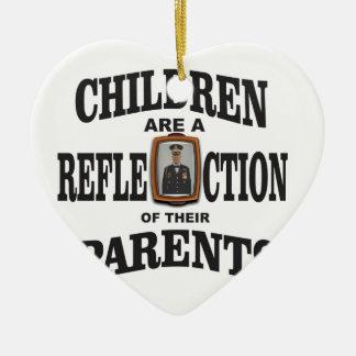 enfants des parents d'armée ornement cœur en céramique