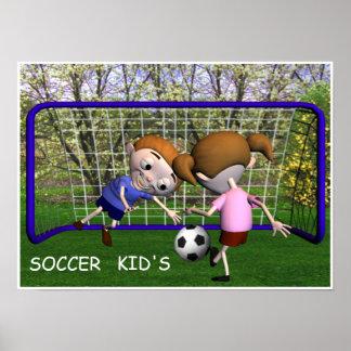 Enfants du football jouant l'affiche poster