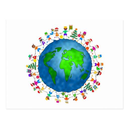 Enfants globaux de Noël Carte Postale