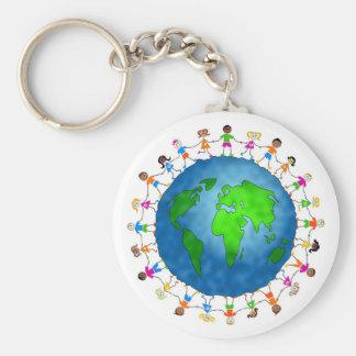 Enfants globaux porte-clé rond