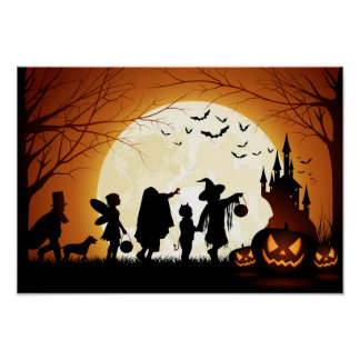 Enfants heureux de silhouette de Halloween Posters