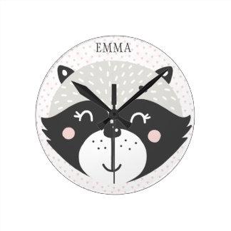 Enfants/horloge murale de crèche personnalisés par horloge ronde
