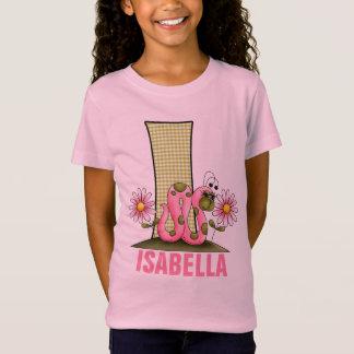 "Enfants ""je"" monogramme arpenteuse rose et verte T-Shirt"