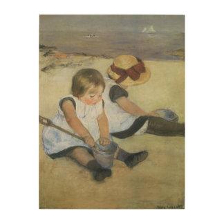Enfants jouant sur la plage par Mary Cassatt Impression Sur Bois