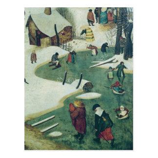 Enfants jouant sur la rivière congelée carte postale