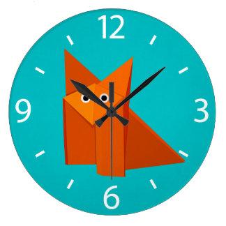 Enfants mignons de Fox d'origami coloré de bande Grande Horloge Ronde