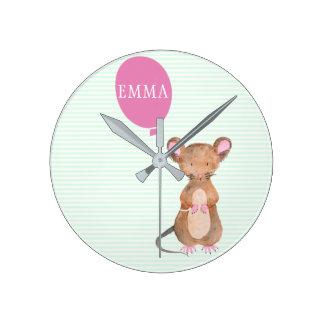 Enfants mignons de souris de région boisée/horloge horloge ronde