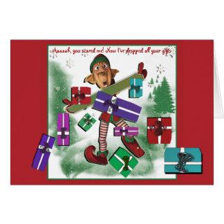 Enfants mignons de vacances de Noël d'Elf Carte De Vœux