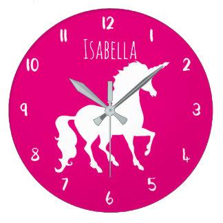 Enfants personnalisés par licorne rose de couleur grande horloge ronde