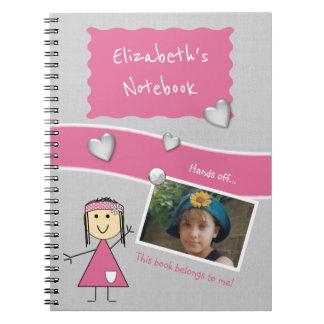 Enfants personnalisés roses et photo grise carnet