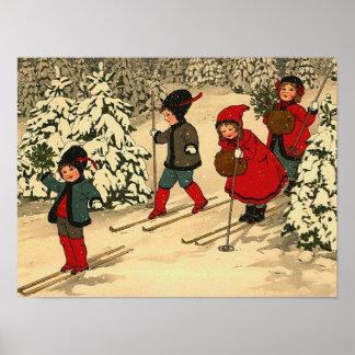 Enfants skiant une scène vintage d hiver poster