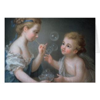 Enfants soufflant des bulles carte de vœux