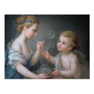 Enfants soufflant des bulles cartes postales
