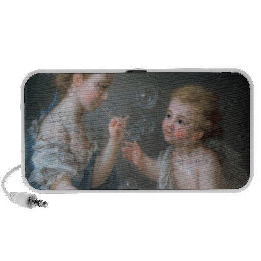 Enfants soufflant des bulles haut-parleurs mp3