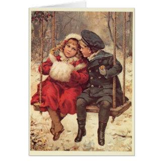 Enfants sur Noël d'oscillation Cartes