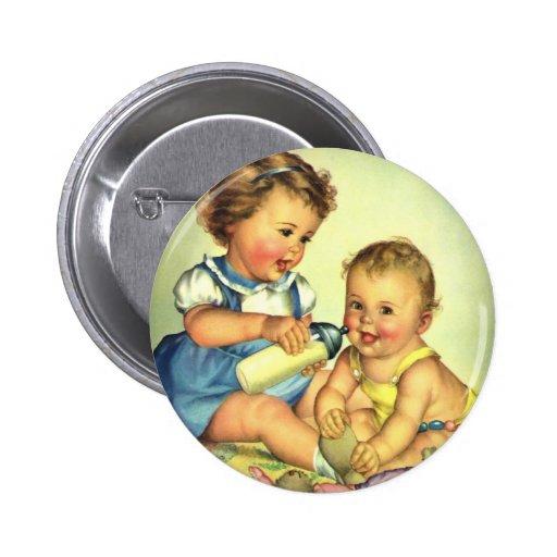 Enfants vintages, bouteille heureuse mignonne de s badge avec épingle