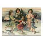 Enfants vintages d'ange de Joyeux Noël Cartes De Vœux