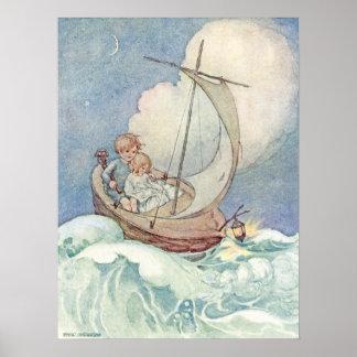 Enfants vintages dans le bateau par Anne Anderson Poster