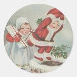 Enfants vintages de Père Noël Adhésifs Ronds