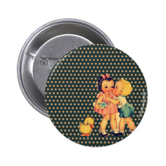 enfants vintages d'école de rétros enfants mignons badge rond 5 cm