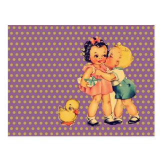 enfants vintages d'école de rétros enfants mignons carte postale