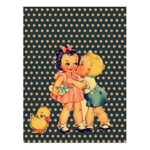 enfants vintages d'école de rétros enfants mignons cartes postales