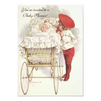 Enfants vintages, invitation victorienne de baby
