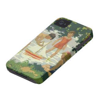 Enfants vintages jouant l'étang d'été de voiliers coques iPhone 4