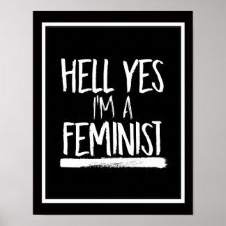 Enfer oui je suis un féministe --  blanc - poster