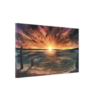 Enlevée - copie étirée 40x22 d'art de mer de toile toile tendue sur châssis