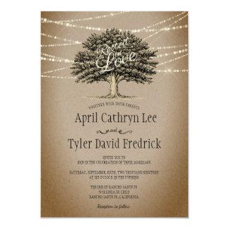 Enraciné dans la ficelle rustique d'arbre d'amour carton d'invitation  12,7 cm x 17,78 cm
