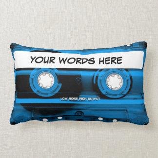 Enregistreur à cassettes bleu personnalisé coussin rectangle