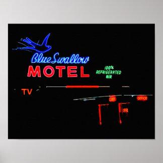 Enseigne au néon bleu de motel d'hirondelle, poster