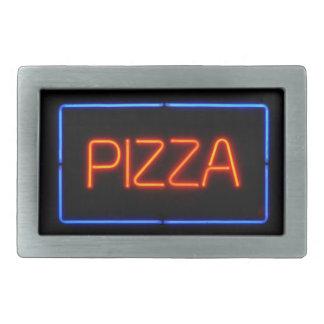 Enseigne au néon bleu et rouge de PIZZA Boucle De Ceinture Rectangulaire