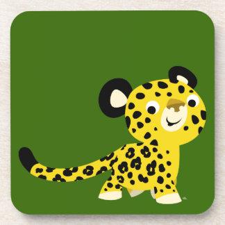Ensemble amical de léopard de bande dessinée migno dessous-de-verre