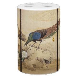 Ensemble asiatique de Bath d'animaux d'oiseaux de Porte Brosse À Dents